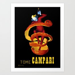 Vintage Yellow Motif Tome Campari Aperitif Italian Advertisement by Leonetto Cappiello Art Print
