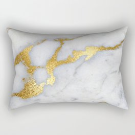 White and Gray Marble and Gold Metal foil Glitter Effect Rectangular Pillow