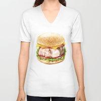 burger V-neck T-shirts featuring Burger by Creadoorm