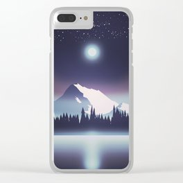 Lake at night Clear iPhone Case