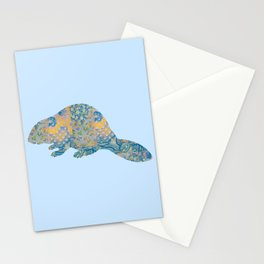 Beaver Vintage Floral Pattern Rustic Country Shabby Chic Blue Yellow Orange Grey Stationery Cards