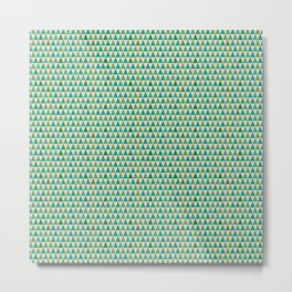 Blue and green triangle pattern Metal Print
