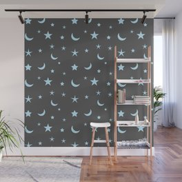 Grey background with blue moon and star pattern Wall Mural