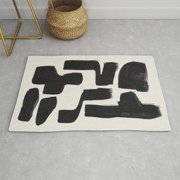 Mid Century Modern Minimalist Abstract Art Brush Strokes Black & White Ink Art Shapes Rug