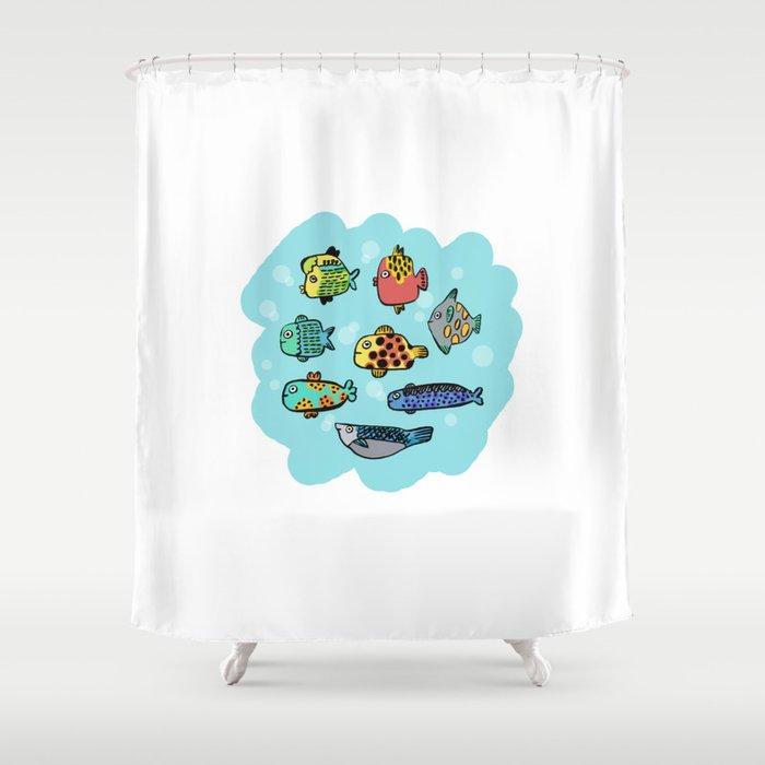Fish Portrait in Sea Shower Curtain