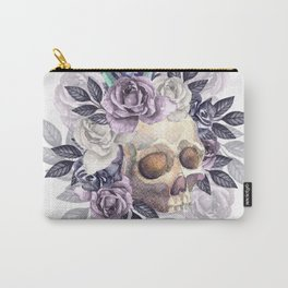 Vintage floral skull. Watercolor Carry-All Pouch
