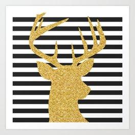 Gold Deer Black and White Stripes Art Print