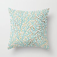 turquoise Throw Pillows featuring Berry Branches – Turquoise & Gold by Cat Coquillette