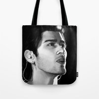 zayn Tote Bags featuring Zayn by Judit Mallol