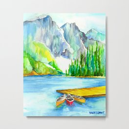 Lake Louise Watercolor Metal Print