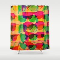 sunglasses Shower Curtains featuring Sunglasses by Kaos and Kookies