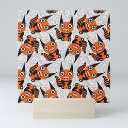 Funny orange monster Mini Art Print