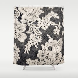 black and white lace- Photograph of vintage lace Shower Curtain