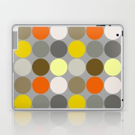 Mid-Century Giant Dots, Gray, Gold and Orange Laptop & iPad Skin