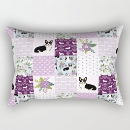 Tricolored Corgi Patchwork - feminine floral, florals corgis, dog lover, dog design, cute dogs Rectangular Pillow
