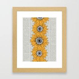 Orange Sunflower Sketch on Newspaper Background Framed Art Print
