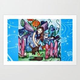 Garden Of The Blue Cat Fairy Art Print