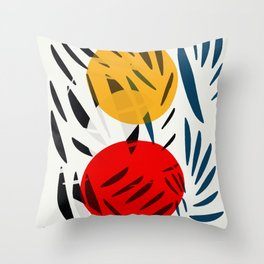 Yellow and Red Abstract Art Graphic Design Throw Pillow
