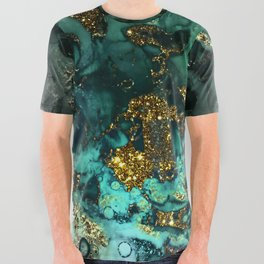 Gold Indigo Malachite Marble All Over Graphic Tee
