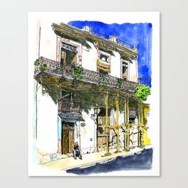 Man Sitting in Front of His House, Habana Vieja, Cuba Canvas Print