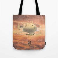 gorillaz Tote Bags featuring Panda fliying in a Blow fish 2 by Barruf