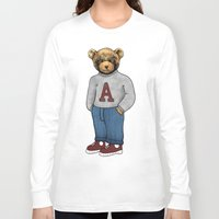 teddy bear Long Sleeve T-shirts featuring teddy bear by ulas okuyucu