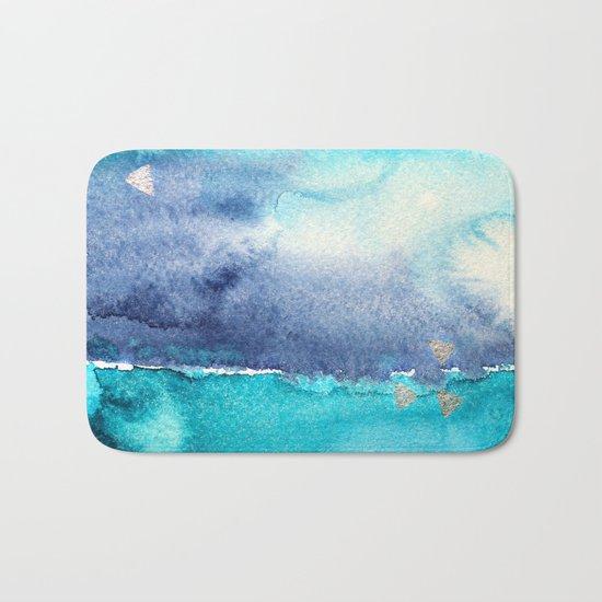 Vibrant horizon || watercolor Bath Mat