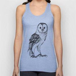Barn Owl - Drawing In Black Pen Unisex Tank Top