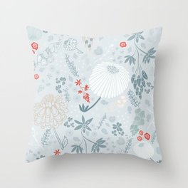 Field of Flowers on Blue Throw Pillow