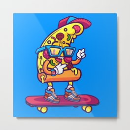 Background of modern pizza slice with skateboard Metal Print