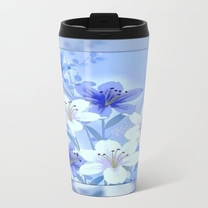 Periwinkle Mirror Floral Metal Travel Mug