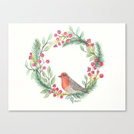 Christmas Wreath Robin Canvas Print