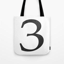 Number 3 (Black) Tote Bag