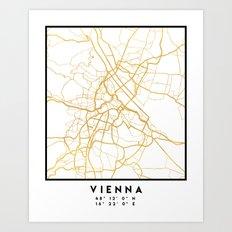 VIENNA AUSTRIA CITY STREET MAP ART Art Print