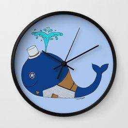 Steampunk Whale (Blue) Wall Clock