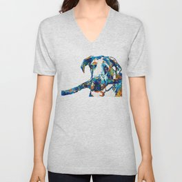Great Dane Art - Stick With Me - By Sharon Cummings Unisex V-Neck