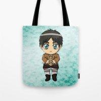 shingeki no kyojin Tote Bags featuring Shingeki no Kyojin - Chibi Eren by Tenki Incorporated