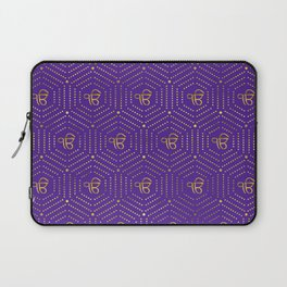 Gold geometric Ek Onkar / Ik Onkar  pattern on violet Laptop Sleeve