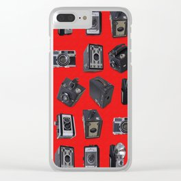 Vintage Cameras on Red Clear iPhone Case