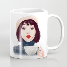 French woman with coffee Coffee Mug