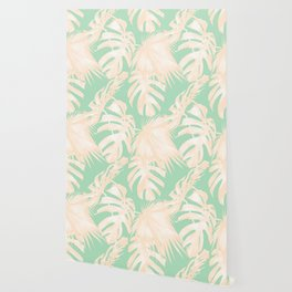 Tropical Palm Leaves on Pastel Green II Wallpaper