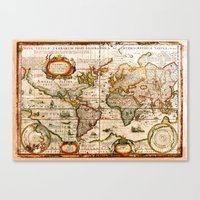 vintage map Canvas Prints featuring Vintage Map by Diego Tirigall