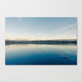 A blue  winter lake Canvas Print