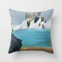 baloon Throw Pillows featuring Butterfly Baloon by ArtSchool