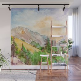 Landscape with mountains and blue sky painted by watercolor Wall Mural