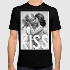 Barbie Lesbian KISS  Mens Fitted Tee Black MEDIUM