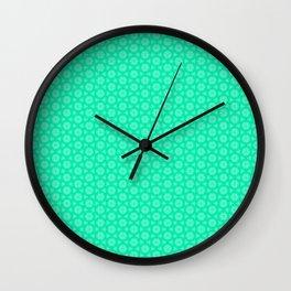 Turquoise and Soft Green Feminine Mini Mandala Kaleidoscope Country Design Pattern Wall Clock