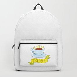 good morning with a cup of coffee Backpack
