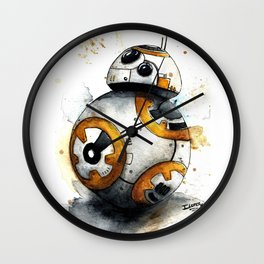 BB8 bb-8 droid Watercolor art Print Star Decor paint The Force Awakens Wars Wall Clock