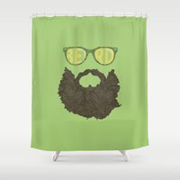 beard Shower Curtains featuring Beard by Pedro Barbosa